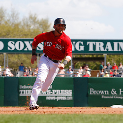 February 28, 2011; Fort Myers, FL, USA; Boston Red Sox second baseman Dustin Pedroia (15) during a spring training exhibition game against the Minnesota Twins at City of Palms Park.  Mandatory Credit: Derick E. Hingle-US PRESSWIRE