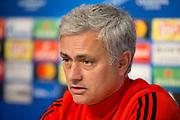 Manchester United Manager Jose Mourinho answers questions during the Manchester United Football Club press conference ahead of the Champions League tie at the Ramon Sanchez Pizjuan Stadium, Seville, Spain on 20 February 2018. Picture by Phil Duncan.