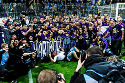Players and the staff  with fan group Viole celebrating after football match between ND Gorica and NK Maribor in Round #32 of Prva liga Telekom Slovenije 2016/17, on May 5th, 2017 in Ljudski Vrt, Maribor, Slovenia. Photo by Grega Valancic / Sportida