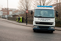 The British Army Bomb Squad were called in and police closed Leppings lane a road behind Sheffield Wednesday Football Ground on Tuesday march 5th 2017. Council workers carrying out clearance work on the Banks of the River Don discovered what they believed might be an unexploded second world war bomb dropped on the city during the Bitz<br /> <br /> 5 March 2013.Image © Paul David Drabble<br /> www.pauldaviddrabble.co.uk