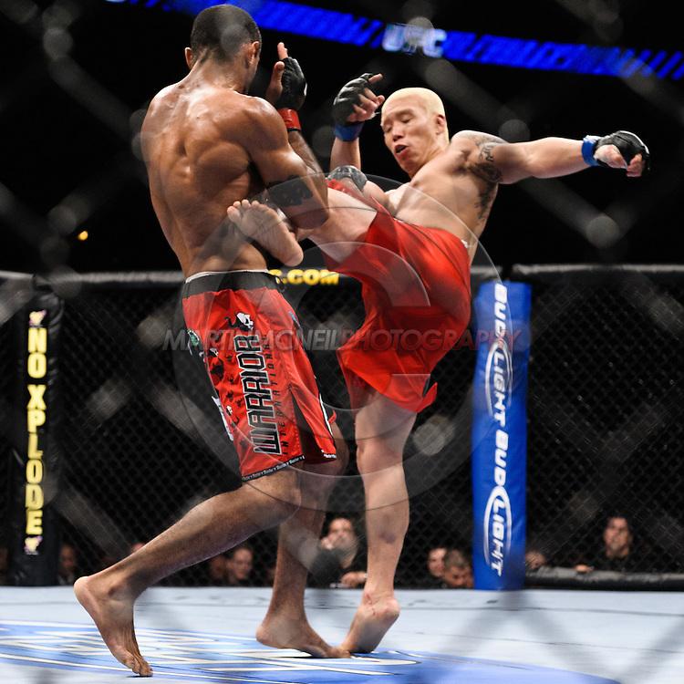 "ATLANTA, GEORGIA, SEPTEMBER 6, 2008: Ryo Chonan (facing) lands a kick on Roan Carneiro during ""UFC 88: Breakthrough"" inside Philips Arena in Atlanta, Georgia on September 6, 2008"