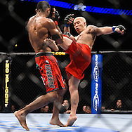 "ATLANTA, GEORGIA, SEPTEMBER 6, 2008: Ryo Chonan (facing) lands a kick on Roan Carneiro during ""UFC 88: Breakthrough"" inside Philips Arena in Atlanta, Georgia on September 6, 2008"