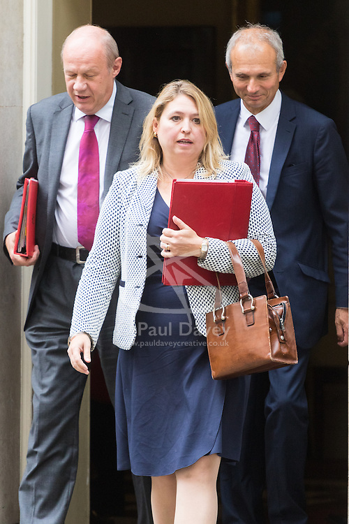 Downing Street, London, September 9th 2016.  Secretary of State for Culture, Media and Sport Karen Bradley leads Work and Pensions Secretary Damian Green (left) and Leader of the House of Commons David Lidington (right) out of 10 Downing Street following the weekly cabinet meeting.
