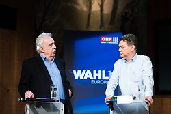 "20.03.2019, Radio Kulturhaus, Wien, AUT, Ö1, Sendung ""Klartext"" zur Europawahl 2019, im Bild EU-Spitzenkandidat Johannes Voggenhuber (JETZT) und EU-Spitzenkandidat Werner Kogler (Grüne) // during political discussion of the Austrian Broadcasting Corporation according to EU elections 2019 in Vienna, Austria on 2019/03/20, EXPA Pictures © 2019, PhotoCredit: EXPA/ Michael Gruber"