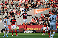 SYDNEY, AUSTRALIA - NOVEMBER 02: Western Sydney Wanderers midfielder Keanu Baccus (17) goes up for the ball during the round 4 A-League soccer match between Western Sydney Wanderers FC and Brisbane Roar FC on November 02, 2019 at Bankwest Stadium in Sydney, Australia. (Photo by Speed Media/Icon Sportswire)