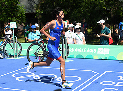 BUENOS AIRES, Oct. 8, 2018  Yu Xinying of China competes during the Women's Triathlon match at the 2018 Summer Youth Olympic Games in Buenos Aires, capital of Argentina, Oct. 7, 2018. Yu Xinying ranked the 20th with 1 hour 2 minutes 49 seconds. (Credit Image: © Li Jundong/Xinhua via ZUMA Wire)