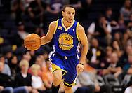 Jan. 2, 2012; Phoenix, AZ, USA; Golden State Warriors guard Stephen Curry (30) reacts on the court against the Phoenix Suns at the US Airways Center. Mandatory Credit: Jennifer Stewart-US PRESSWIRE.