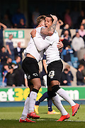 Jeff Hendrick celebrates his equalising goal with Tom Ince, making it it 3-3 during the Sky Bet Championship match between Millwall and Derby County at The Den, London, England on 25 April 2015. Photo by David Charbit.