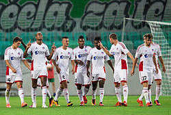 Rangelo Janga and other players of AS Trencin celebrate after scoring 3rd goal for Trencin during 1st Leg football match between NK Olimpija Ljubljana (SLO) and FK AS Trenčin (SVK) in Second Qualifying Round of UEFA Champions League 2016/17, on July 13, 2016 in SRC Stozice, Ljubljana, Slovenia. Photo by Vid Ponikvar / Sportida