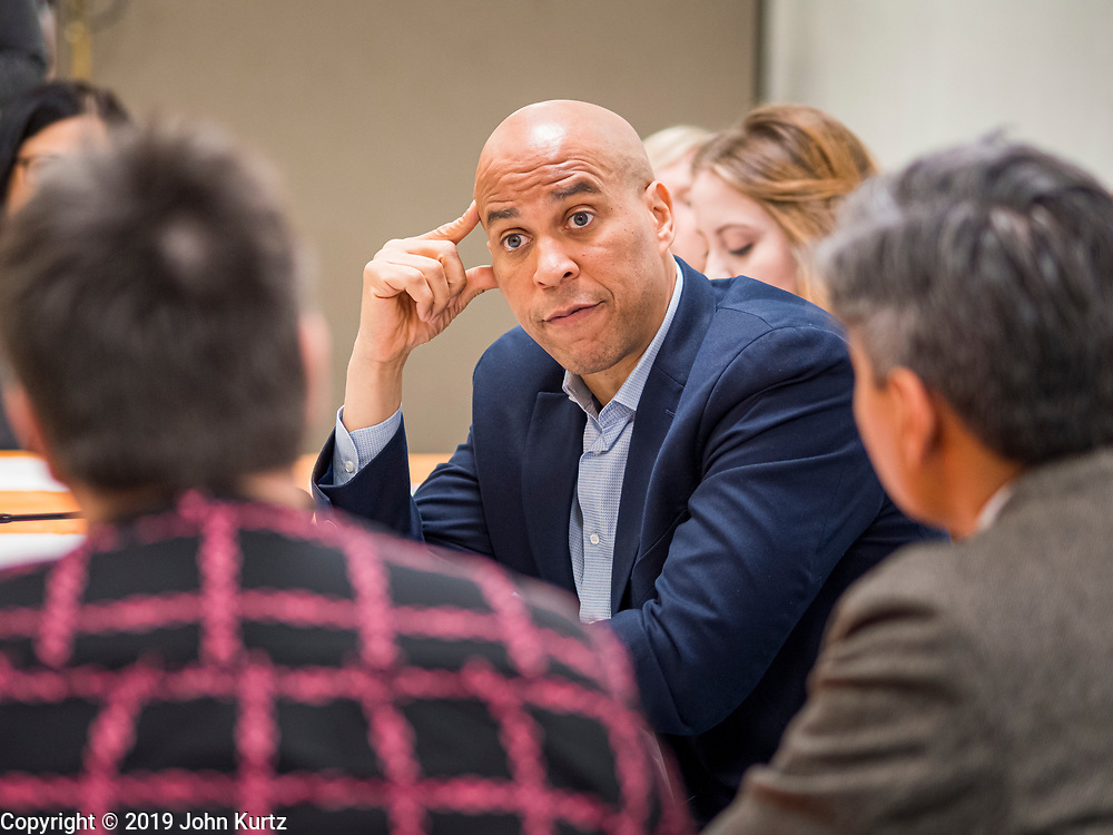 01 NOVEMBER 2019 - DES MOINES, IOWA: US Senator CORY BOOKER (D-NJ) talks about the issues facing children, including education and gun violence at Conmigo Early Education Center. Sen. Booker visited Conmigo Early Education Center, a bilingual education center for children ages 1-5. He talked to staff about the needs of children. Booker is running to be the Democratic nominee for president and spoke later in the evening at the Liberty and Justice Celebration.            PHOTO BY JACK KURTZ