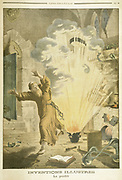 Berthold Schwarz (active 1320). German Franciscan monk and alchemist, supposed to be the first European to discover Gunpowder. Illustration from Le Petit Journal,  Paris, 1901