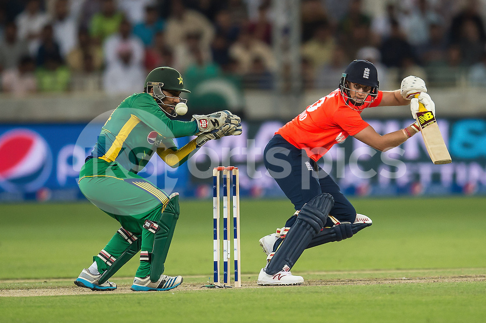 Joe Root of England batting during the 2nd International T20 Series match between Pakistan and England at Dubai International Cricket Stadium, Dubai, UAE on 27 November 2015. Photo by Grant Winter.