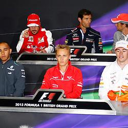 FORMULA 1 SANTANDER BRITISH GRAND PRIX Press conference Fernando Alonso, Mark Webber, Jenson Button, Lewis Hamilton, Max Chilton and Paul Di Resta......(c) STEPHEN LAWSON | SportPix.org.uk