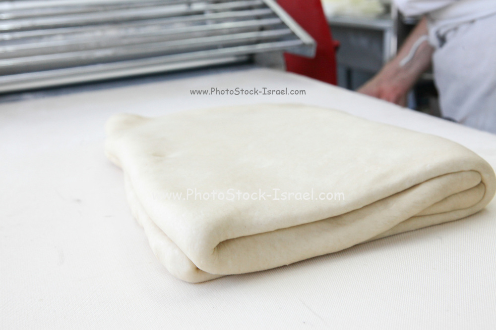 Making puff pastry at a bakery folded pastry