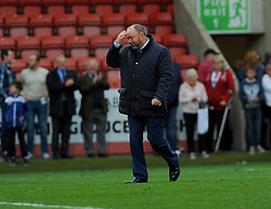 Cheltenham Town manager Gary Johnson shows a sigh of relief after his team win 2-1 against Crawley.  - Mandatory by-line: Nizaam Jones/JMP - 15/10/2016 - FOOTBALL - The LCI Rail Stadium - Cheltenham, England - Cheltenham Town v Crawley Town - Sky Bet League Two