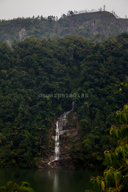 Waterfall at Asahan 1 Dam,  Asahan 1 a 180 MW run-of-river hydroelectric power plant located in Indonesia's North Sumatera Province at the upstream reach of the Asahan River   at Porsea District,  North Sumatera Province, Indonesia  on July 13, 2015