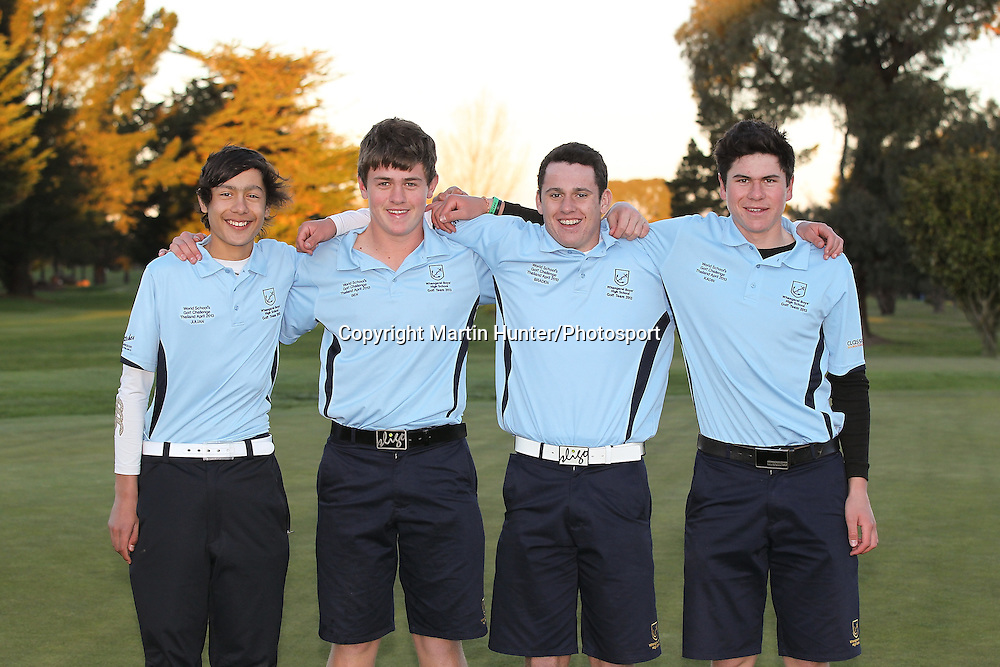 Whangarei Boys High School members (L to R) Julian Fowler, Ben Kennedy, Braden Keown and Kadin Neho celebrate after winning the 2013 NZ Secondary Schools Golf Championship at Templeton Club, Christchurch, New Zealand. 2 September 2013. Photo: Martin Hunter/photosport.co.nz