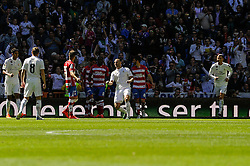 05.04.2015, Estadio Santiago Bernabeu, Madrid, ESP, Primera Division, Real Madrid vs FC Granada, 29. Runde, im Bild Real Madrid&acute;s Karim Benzema and Cristiano Ronaldo celebrates a goal // during the Spanish Primera Division 29th round match between Real Madrid CF and Granada FC at the Estadio Santiago Bernabeu in Madrid, Spain on 2015/04/05. EXPA Pictures &copy; 2015, PhotoCredit: EXPA/ Alterphotos/ Luis Fernandez<br /> <br /> *****ATTENTION - OUT of ESP, SUI*****