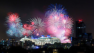 Guests on board P&amp;O Cruises' newest ship, Britannia, were treated to a spectacular fireworks display following a gala dinner last night. The ship arrived into her home port of Southampton on Friday and was named by Her Majesty the Queen today. She is the largest vessel in the P&amp;O fleet, capable of carrying 3600 passengers, and is the biggest ship built to serve the british cruise market.<br /> Picture date: Monday March 9th, 2015.<br /> Photograph by Christopher Ison &copy;<br /> 07544044177<br /> chris@christopherison.com<br /> www.christopherison.com