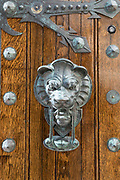 Lion door knocker in the Beacon Hill historic district of the city of Boston, Massachusetts, USA