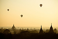 Hot air balloons soar over Bagan, Myanmar (Burma).