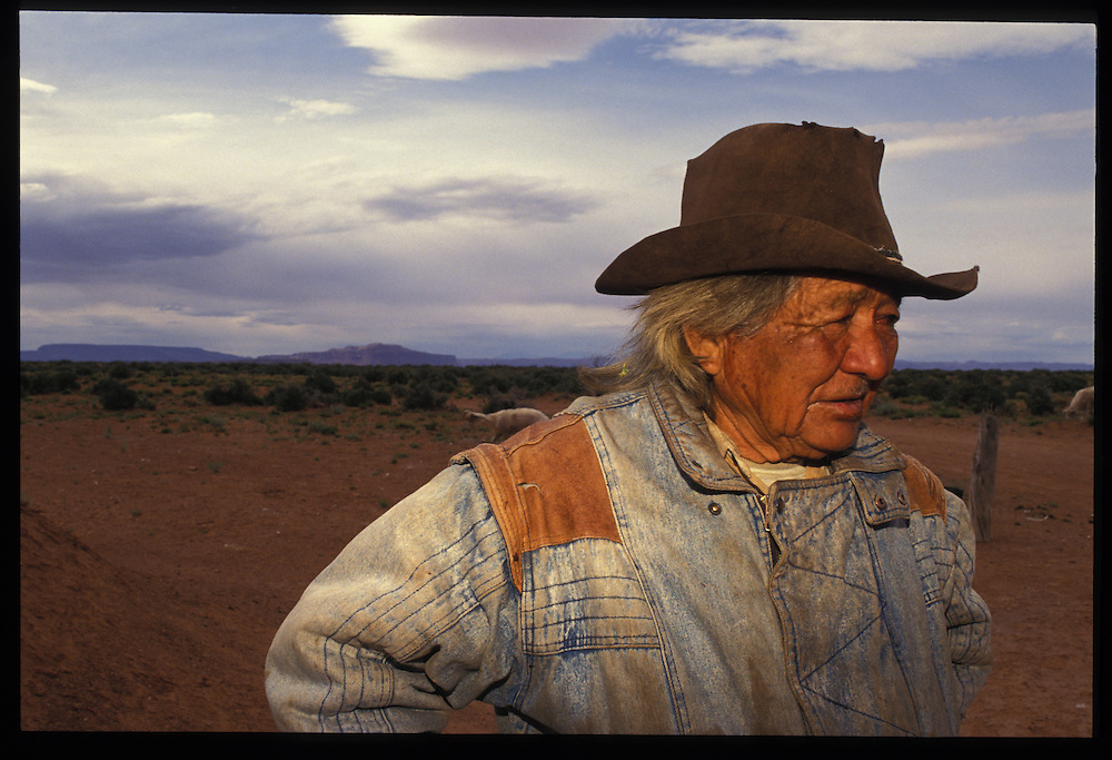Shone Holiday (78) of Oljeto, is one of the last members of his family who remains at home, shearing sheep and goats.