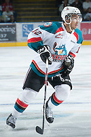 KELOWNA, CANADA - FEBRUARY 8: Tyrell Goulbourne #12 of the Kelowna Rockets skates on the ice against the Portland Winterhawks at the Kelowna Rockets on February 8, 2013 at Prospera Place in Kelowna, British Columbia, Canada (Photo by Marissa Baecker/Shoot the Breeze) *** Local Caption ***
