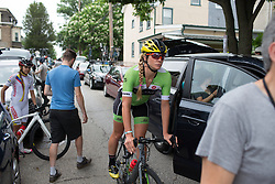 Alison Tetrick of Cylance Pro Cycling rolls to the start before the Philadelphia International Cycling Classic, a 117.8 km road race in Philadelphia on June 5, 2016 in Philadelphia, PA.