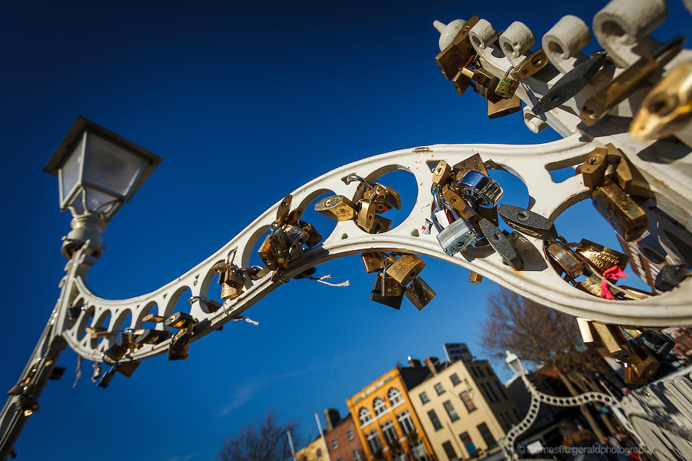 2012: Dublin, Ireland. Locks placed on the ha'penny bridge in Dublin symbolising people's love for each other are placed by passers by as a tradition and a symbol
