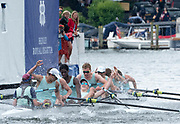 Henley Royal Regatta, 3-7 July 2019. Eton College, celebrate, after crossing  the Finish Line, to win, the Princess Elizabeth Challenge CupRoyal Henley Peace Regatta Centenary, 1919-2019. Henley on Thames.<br /> <br /> <br /> <br /> [Mandatory Credit: Patrick WHITE/Intersport Images], 7, 07/07/2019,  12:35:32