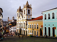 church or iglesias rosario dos pretos in pelourinho area in the beautiful city of salvador in bahia state brazil