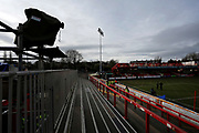 General view inside The Wham Stadium with a TV camera during the The FA Cup fourth round match between Accrington Stanley and Derby County at the Fraser Eagle Stadium, Accrington, England on 26 January 2019.