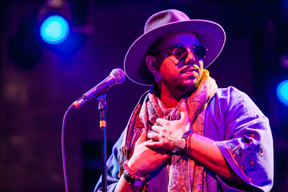 Brooklyn, NY - 15 July 2017. The BRIC Celebrate Brooklyn! Festival summer concert series featured a post-Bastille Day bill of the Louisiana bilingual band Sweet Crude and French songwriter and stylist Ben L'Oncle Soul. Ben L'Oncle Soul on stage.