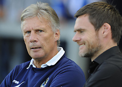 Fleetwood Town's Manager, Graham Alexander (right) speaks with Bristol Rovers Manager, John Ward (left) before the game - Photo mandatory by-line: Joe Meredith/JMP - Tel: Mobile: 07966 386802 05/10/2013 - SPORT - FOOTBALL - Memorial Stadium - Bristol - Bristol Rovers V Fleetwood Town - Sky Bet League 2