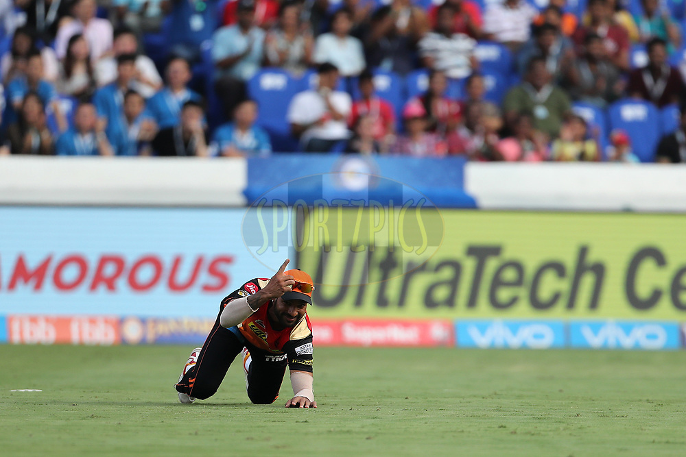 Shikhar Dhawan of the Sunrisers Hyderabad takes the catch to dismiss Jason Roy of the Gujarat Lions during match 6 of the Vivo 2017 Indian Premier League between the Sunrisers Hyderabad and the Gujarat Lions held at the Rajiv Gandhi International Cricket Stadium in Hyderabad, India on the 9th April 2017<br /> <br /> Photo by Ron Gaunt - IPL - Sportzpics