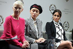 March 8, 2019 - London, London, United Kingdom - Image licensed to i-Images Picture Agency. 08/03/2019. London, United Kingdom. (L-R) British singer Annie Lennox, British model Adwoa Aboah and Britain's Meghan, Duchess of Sussex  take part in a panel discussion in London, convened by the Queen's Commonwealth Trust to mark International Women's Day  (Credit Image: © Pool/i-Images via ZUMA Press)