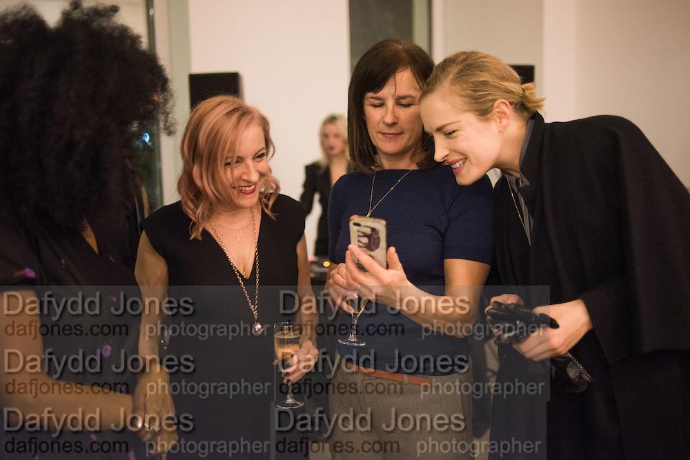 "IRIS GOLD; EMILY BRADBURY; RACHEL HOWARD; POLLY MORGAN, The launch of Rachel Howard's ""Humble Hanger"" -  a limited edition jewellery collaboration with True Rocks.. BlainSouthern, Hanover Sq. London. 18 November 2015"