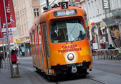 13.03.2012, Graz, AUT, Feature, im Bild eine Strassenbahn der GVB Linie 3 Richtung Krenngasse, EXPA Pictures © 2012, PhotoCredit: EXPA/ Erwin Scheriau