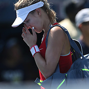 Eugenie Bouchard, Canada, after her 6-1, 6-0 loss to Roberta Vinci, Italy, in the first round of the Connecticut Open at the Connecticut Tennis Center at Yale, New Haven, Connecticut, USA. 24th August 2015. Photo Tim Clayton