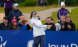Auchterarder, Scotland, UK. 12 September 2019. Final practice day at 2019 Solheim Cup on Centenary Course at Gleneagles. Pictured; Nelly Korda of USA watches her tee shot to 10th green. Iain Masterton/Alamy Live News