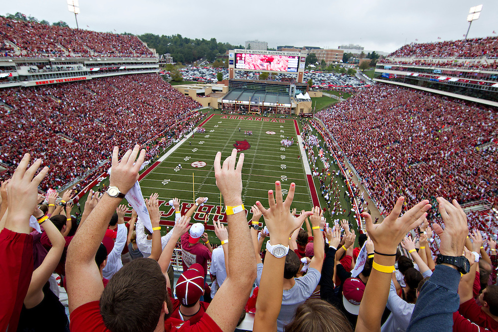 FAYETTEVILLE, AR - SEPTEMBER 15:  Donald W. Reynolds Razorback Stadium, home of the Arkansas Razorbacks during a game against the Alabama Crimson Tide on September 15, 2012 in Fayetteville, Arkansas.  The Crimson Tide defeated the Razorbacks 52-0.  (Photo by Wesley Hitt/Getty Images) *** Local Caption ***