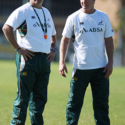 PORT ELIZABETH, SOUTH AFRICA - AUGUST 16, Gary Gold assistant coach with Dick Muir assistant coach during the South Africa national rugby team training session at Nelson Mandela Bay Stadium on August 16, 2011 in Port Elizabeth, South Africa<br /> Photo by Steve Haag / Gallo Images
