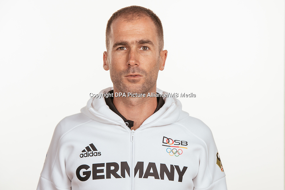 Pierre Loquet poses at a photocall during the preparations for the Olympic Games in Rio at the Emmich Cambrai Barracks in Hanover, Germany, taken on 20/07/16 | usage worldwide