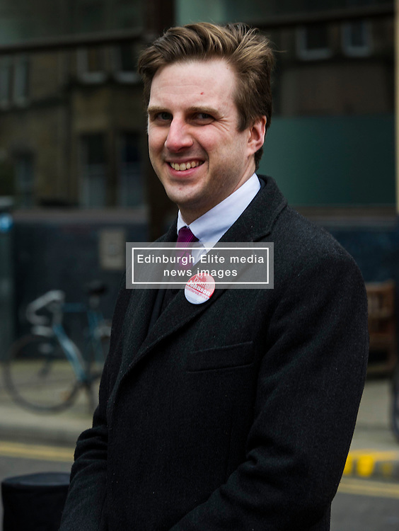 Pictured: Local candidate Daniel Johnston<br /> <br /> Scottish Labour leader, Kezia Dugdale began her Party's Holyrood election campaign by joining supporters at a street stall in Morningside in Edinburgh today. She was joned by local candidate Daniel Johnston<br /> <br />  Ger Harley | EEm 23 March 2016