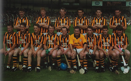 Kilkenny-All-Ireland Hurling Champions 1993. Back Row: Michael Phelan, John Power, Pat Dwyer, Liam Simpson, Eamonn Morrissey, Pat O'Neill. Front Row: Adrian Ronan, Liam Keoghan, P J Delaney, Willie O'Connor, Eddie O' Connor (capt), Michael Walsh, D J Carey, Bill Hennessy, Liam McCarthy.