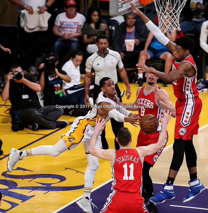 Los Angeles Lakers guard Jordan Clarkson (#6) passes the ball against Philadelphia 76ers during an NBA basketball game Tuesday, March 12, 2017, in Los Angeles. <br /> (Photo by Ringo Chiu/PHOTOFORMULA.com)<br /> <br /> Usage Notes: This content is intended for editorial use only. For other uses, additional clearances may be required.