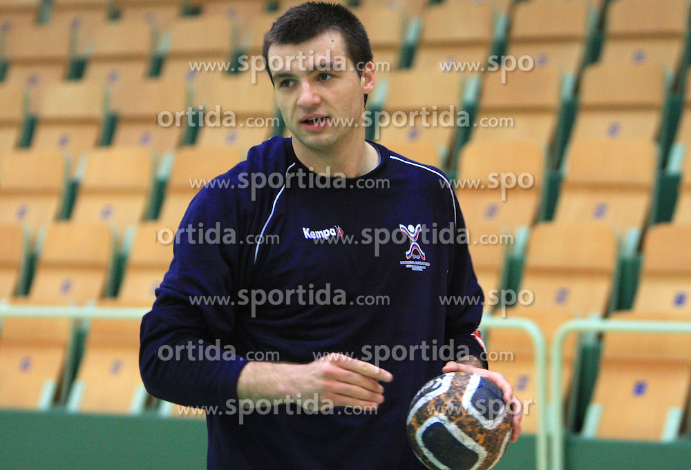 Klemen Cehte at practice of Slovenian handball men national team before going to Israel, on October 27, 2008 in Lasko, Slovenia. (Photo by Vid Ponikvar / Sportal Images)