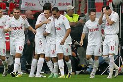17.09.2011,  BayArena, Leverkusen, GER, 1.FBL, Bayer 04 Leverkusen vs 1. FC Koeln, im Bild.Milivoje Novakovic (Koeln #11) (R) und Lukas Podolski (Koeln #10) (L) sind die Torschützen vom 0:1 und 0:2. Hier feiern sie beim 0:2 ..// during the 1.FBL, Bayer Leverkusen vs 1. FC Köln on 2011/09/17, BayArena, Leverkusen, Germany. EXPA Pictures © 2011, PhotoCredit: EXPA/ nph/  Mueller *** Local Caption ***       ****** out of GER / CRO  / BEL ******