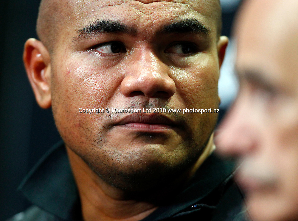 "David Tua at the after bout press conference after defeating Friday Ahunanya in 12 rounds by a unanimous points decision. David Tua v Friday ""The 13th"" Ahunanya, Waitakere Trusts Stadium, Auckland, Wednesday 31 March 2010. Photo: Simon Watts/PHOTOSPORT"