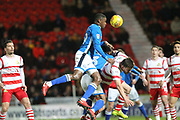 Donervan Daniels attacks a corner during the EFL Sky Bet League 1 match between Doncaster Rovers and Rochdale at the Keepmoat Stadium, Doncaster, England on 29 December 2017. Photo by Daniel Youngs.